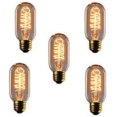5pcs T45 Ε27 40W πυρακτώσεως λαμπτήρες, αντίκες vintage φως ρετρό Edison λαμπτήρες (220-240V)