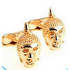 1 Pair Gold Buddha Head Cufflinks for Men Gift