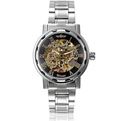 Herren Armbanduhr Automatikaufzug Transparentes Ziffernblatt Edelstahl Band Silber Marke- WINNER