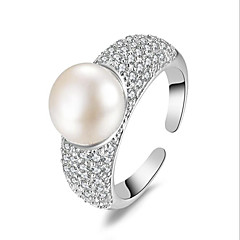 Pearl Solid Silver Rings Open Micro Inlay Ziron Stone