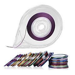 30colors csíkozás mérőszalag köröm díszítés matricák - ingyenes szalag roller adagoló