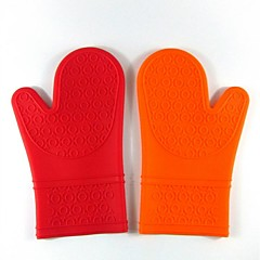 Longer Section Large Silicone Glove Silicone Microwave Oven Gloves Insulated Gloves Fingers 5Pcs