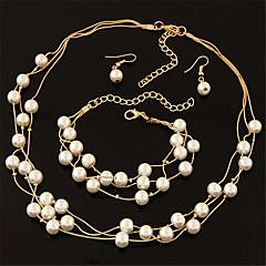Dames Sieraden Set Druppel oorbellen Kettingen Parelketting Modieus Meerlaags Elegant Bruids Kostuum juwelen Parel Cirkelvorm Oorbellen