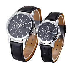 Couple's Dress Watch Fashion Watch Quartz Casual Watch Leather Band Vintage Black Brown
