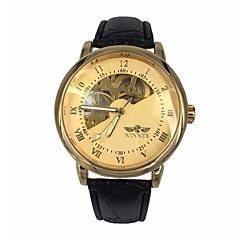 WINNER Hombre Reloj de Pulsera El reloj mecánico Cuerda Automática Huecograbado Piel Banda De Lujo Negro Dorado