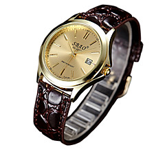 Couple's Fashion Watch Casual Watch Quartz PU Band Brown