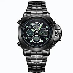 Hombre Reloj Deportivo Cuarzo / Digital LED / Calendario / Dos Husos Horarios / Noctilucente Acero Inoxidable Banda Casual Negro / Plata