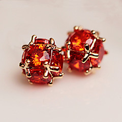Earring Round Stud Earrings Jewelry Women Fashion Daily / Casual Cubic Zirconia 1 pair Red