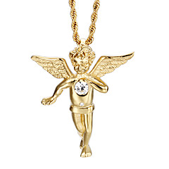 Lucky 18k Gold Plated Twisted Chain Angel Wings Pendant Necklace Men Fashion Jewelry Costume Necklaces