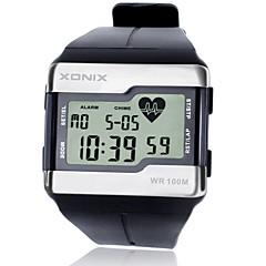 Herr Sportsklocka / Modeklocka / Armbandsur Digital LCD / alarm / Hjärtfrekvensmonitor / Självlysande / Stoppur Silikon Band FritidSvart