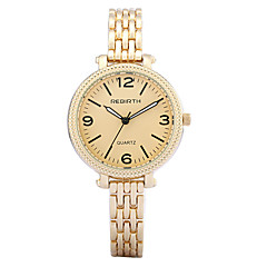 REBIRTH Women's Watch Simple Fashion Alloy Gold Black Strap Quartz Wrist Watch