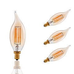 3.5W E12 LED Filament Bulbs CA10 COB 300 lm Amber Dimmable / Decorative AC 110-130 V 4 pcs