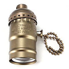 Anahtar siyah / bronz / gümüş / altın renkli E27 bakalit baz ampul soketi lamba tutucusu