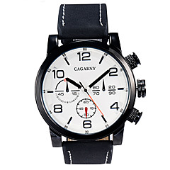 CAGARNY 6829 Men's Quartz Watch Big Round Dial Leather Watchband Watch  (Assorted Color)