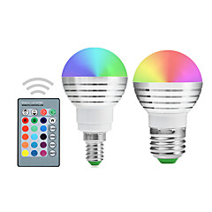 2 Pcs YWXLight E27/E26/E14 RGB Lamp Led Bulbs 5W Colorful RGB Bulb 85-265V Chandeliers Led Light + IR Remote Controller