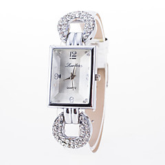 Women's Fashion Watch Simulated Diamond Watch / Quartz Leather Band Casual Black White Blue Red Brown Pink Rose