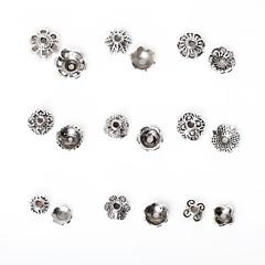 beadia 297pcs vegyes 9 stílus&méretek antik ezüst ötvözetből gyöngy sapka fém virág távtartó gyöngyök