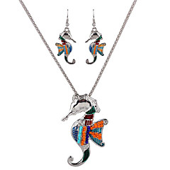 May Polly Europe and the United States Marine personality seahorse Pendant Necklace Earrings Set