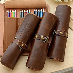 Retro Leather Buckle Embossed Roll Pencil Case Pencil Curtain Stationery Bags (Random Pattern)