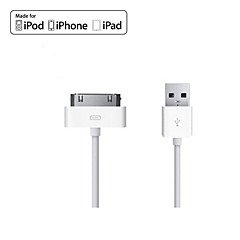 MFi Certified 30-Pin To USB Cable Charging Sync Data Flat White Cable for iPhone 4/4s (100cm)