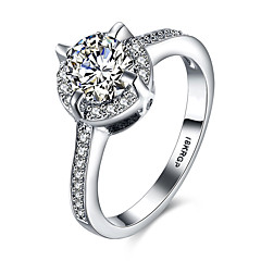 lureme18kRPG Cubic Zirconia Claws and Annulus Weddinng Engagement Ring