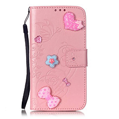 Na Samsung Galaxy Etui Portfel / Etui na karty / Stras / Z podpórką / Flip / Wytłaczany wzór / Wzór Kılıf Futerał Kılıf Motyl Miękkie