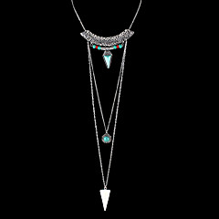 Indian Design Jewelry Long Chain Triangle Pendant Necklace