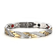 Men's Fashion  Individual Stainless Steel Silver And Gold Plated Circle Shape Chain Bracelets(1pc) Christmas Gifts