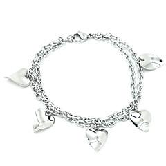 Smooth Heart Leaves Multi-Layer Titanium Steel Bracelets