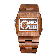 Herren Modeuhr Einzigartige kreative Uhr Japanischer Quartz LED Kalender Chronograph Duale Zeitzonen hölzern Holz Band BequemSchwarz Rot