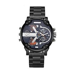 CAGARNY Heren Modieus horloge Polshorloge Kwarts Dubbele tijdzones Roestvrij staal Band Vintage Cool Luxueus Zwart WitZwart Zilver Geel
