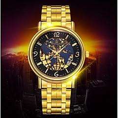 男性 ドレスウォッチ / 機械式時計 自動巻き カレンダー / 耐水 / 光る ステンレス バンド カジュアルスーツ / 世界地図柄 ゴールド ブランド