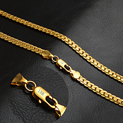 Women's Men's Couple's Chain Necklaces Circle Gold 18K gold Fashion Classic Personalized Golden Jewelry ForWedding Party Daily Casual