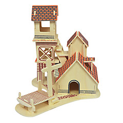 Jigsaw Puzzles 3D Puzzles / Wooden Puzzles Building Blocks DIY Toys House Wood Beige Model & Building Toy