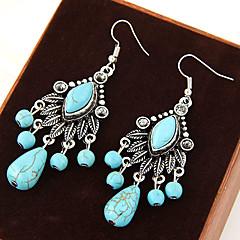 Kolczyki wiszące Postarzane Turkusowy Stop Leaf Shape Niebieski Biżuteria Na Impreza Codzienny Casual 1 para