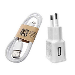 Fast Charge Hjem Lader / Portable lader EU Plug En USB-port med kabel for Mobiltelefon(5V , 1A)