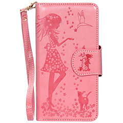 For iPhone 7Plus 7 6s Plus 6 Plus 6S 6 SE 5s 5 PU Leather Material Woman and Cat Pattern Embossed 9 Cassette With Mirror Phone Case