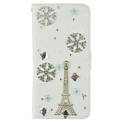 Varten Lomapkko / Korttikotelo / Paljetti / Tuella / Flip Etui Kokonaan peittävä Etui Eiffelin torni Kova Tekonahka SamsungNote 5 / Note
