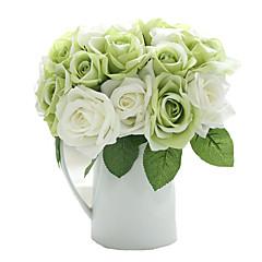 9pcs/Set 9 şube İpek Güller Masaüstü Çiçeği Yapay Çiçekler 9.5 inch
