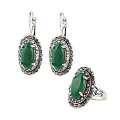 Jewelry Set AAA Cubic Zirconia Gemstone Vintage Victorian Luxury Jewelry Green Casual 1set 1 Pair of Earrings 1 Ring Wedding Gifts