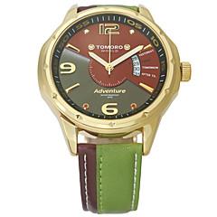 COMTEX Heren Modieus horloge Polshorloge Kwarts Japanse quartz Kalender Waterbestendig Echt leer Band Cool Vrijetijdsschoenen Meerkleurig