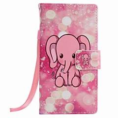 Για huawei p9 lite p8 lite ροζ ελεφάντων ζωγραφική pu θήκη τηλέφωνο