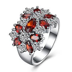 새해 맞이 모조 큐빅 지르콘 구리 티타늄 스틸 모조 다이아몬드 레드 보석류 일상 캐쥬얼 1PC