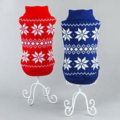 Γάτες Σκυλιά Πουλόβερ Κόκκινο Μπλε Ρούχα για σκύλους Χειμώνας Άνοιξη/Χειμώνας Χιονονιφάδα Κλασσικά Χριστούγεννα Πρωτοχρονιά