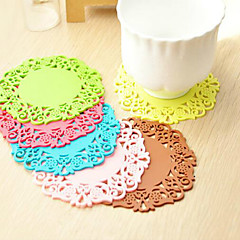 6PCS Creative Hollow Out Silicone Flower Shape Antiskid Hot Heat Insulation Cup Mat 10cm