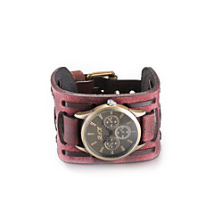 Unisex Fashion Watch Wrist watch Bracelet Watch Quartz Water Resistant / Water Proof Leather Band Vintage Bohemian Bangle Black Red Strap Watch