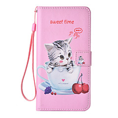 For iPhone 7 7 Plus 6S 6 Plus SE 5S Case Cover Naughty Cat Pattern Painting Card Stent PU Leather Lanyard Phone Case