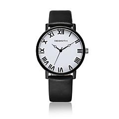 Γυναικεία Μοδάτο Ρολόι Ρολόι Καρπού Καθημερινό Ρολόι / Χαλαζίας Δέρμα Μπάντα Καθημερινά Μαύρο Λευκή