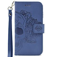 Mert Pénztárca / Kártyatartó / Dombornyomott Case Teljes védelem Case Koponya Kemény Műbőr mert SamsungS7 edge / S7 / S6 edge / S6 / S5