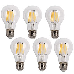 6W E26/E27 LED Filament Bulbs A60(A19) 6 COB 600 lm Warm White / Cool White Decorative AC 220-240 V 6 pcs